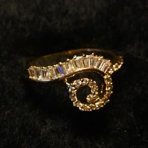 Glamorous diamond zirconia and gold plated ring